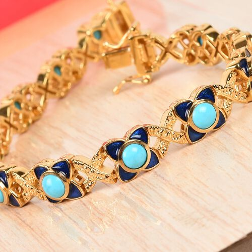 AA Arizona Sleeping Beauty Turquoise Enamelled Bracelet (Size 7.5) in 14K Gold Overlay Sterling Silver 6.00 Ct, Silver wt 25.10 Gms