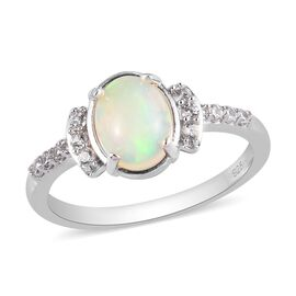 Ethiopian Welo Opal and Natural Cambodian Zircon Ring in Platinum Overlay Sterling Silver 0.95 Ct.