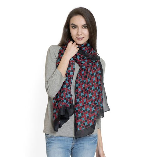 100% Mulberry Silk Red and Black Colour Dots Pattern Light Blue Colour HD Printed Scarf (Size 180x100 Cm)