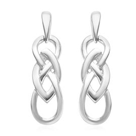 Platinum Overlay Sterling Silver Knot Earrings (with Push Back)