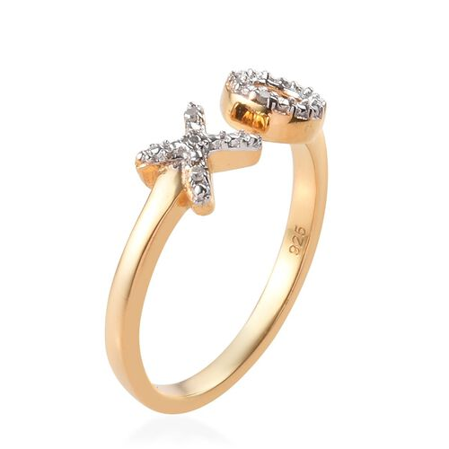 Diamond (Rnd) Hug and Kiss Ring in 14K Gold Overlay Sterling Silver
