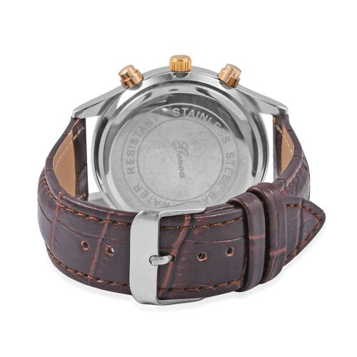 GENOA Multi Function Quartz Movement White Crystal Studded Water Resistant Watch with Brown Strap