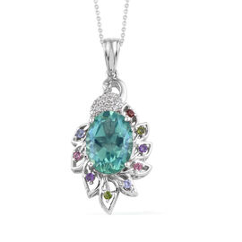 Peacock Quartz (Ovl), Multi Gemstone Pendant With Chain (Size 20) in Platinum Overlay Sterling Silve