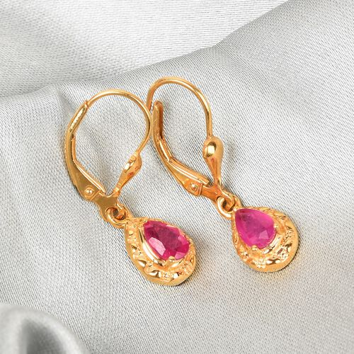 African Ruby Drop Lever Back Earrings in 14K Gold Overlay Sterling Silver 1.10 Ct.