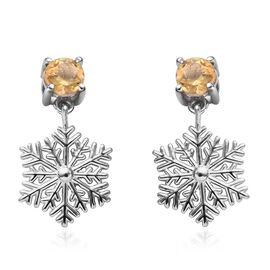 Citrine (Rnd) Snowflake Design Earrings (with Push Back) in Platinum Overlay Sterling Silver 1.00 Ct
