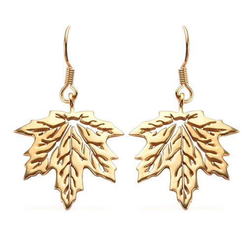 14K Gold Overlay Sterling Silver Maple Leaf Hook Earrings, Silver wt 6.00 Gms