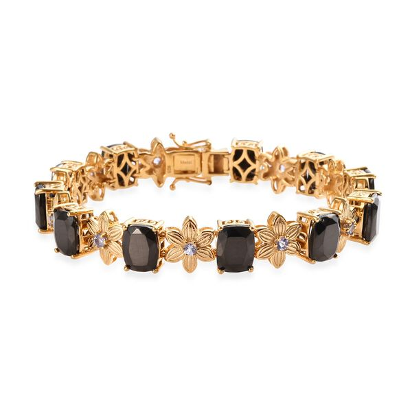 14.75 Ct Elite Shungite and Tanzanite Floral Bracelet in Gold Plated Silver 22 Grams 7.5 Inch