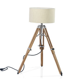 Natural Teak Wood Tripod Lamp (81 cm) with Stainless Steel Elements and Natural Colour Linen Lampsha