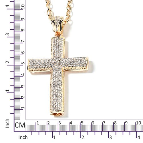 White Austrian Crystal (Rnd) Cross Pendant With Chain in Yellow Gold Plated