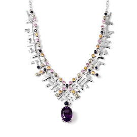 RACHEL GALLEY Amethyst with Multi Colour Sapphire Tweed Graphic Necklace (Size 20) in Rhodium Overla