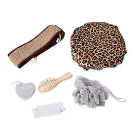 7 Piece Set - Bath Accessory Kit in Black Gift Box (Included Leopard Bath Cap, PE Mesh Ball, Pumice