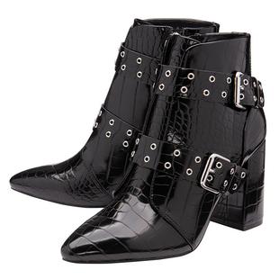 Ravel Black Croc-Print Gerona Ankle Boots (Size 3)