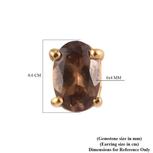 Colour Change Garnet Stud Earrings (with Push Back) in 14K Gold Overlay Sterling Silver 1.10 Ct.