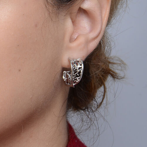 LucyQ Rhodium Overlay Sterling Silver Filigree Earrings ( with Push Back)