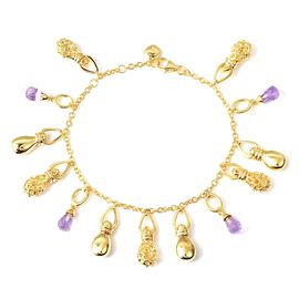 RACHEL GALLEY Mystic Collection Rose De France Amethyst Bracelet (Size 8) with Multi Charm in Yellow