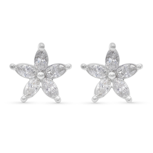 NY Close Out Deal - 14K White Gold Diamond (I1- I2/G-H) Flower Stud Earrings (with Screw Back) 1.00