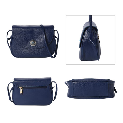 100% Genuine Leather Middle Size Litchi Pattern Crossbody Bag (Size 23x8x18cm) - Navy