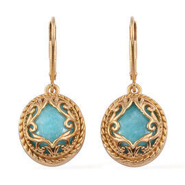 9.5 Ct Peruvain Amazonite Drop Solitaire Earrings in Gold Plated Sterling Silver 4.38 Grams