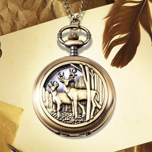 STRADA Japanese Movement Deer Couple Pattern Pocket Watch with Chain (Size 31) in Antique Bronze Plated