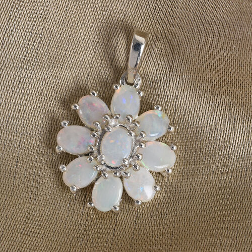 Natural Australian Opal Floral Cluster Pendant in Sterling Silver 1.00 Ct.