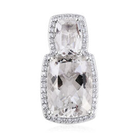 7 Carat Petalite and Cambodian Zircon Pendant in Platinum Plated Sterling Silver