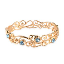 J Francis Aquamarine Colour Crystal from Swarovski Floral Vine Bangle in 18K Gold Plated 7.5 Inch
