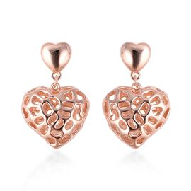 RACHEL GALLEY Amore Heart Earrings with Push Back in Rose Gold Plated Silver 6.60 Grams