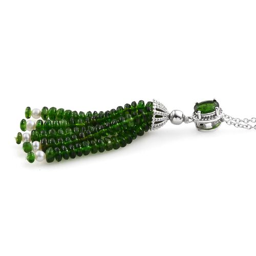 GP Russian Diopside, Freshwater Pearl and Blue Sapphire Tassel Pendant With Chain (Size 18) in Platinum Overlay Sterling Silver 33.780 Ct.