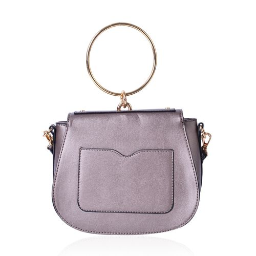 Metallic Taupe Colour Tote Bag with Circular Handle and Adjustable and Removable Shoulder Strap (Size 22X18.5X8 Cm)
