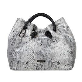 Bulaggi Collection - Jade Snake Print Handbag (Size 28x27x14 Cm) - White, Black and Silver