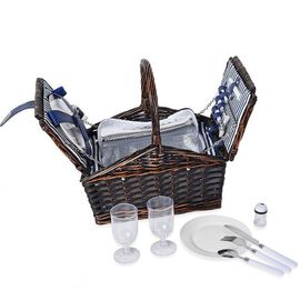 Blue & White Striped Inside Picnic Basket for 2 People (Includes 2 x Ceramic plates, 2 x Goblets, 2