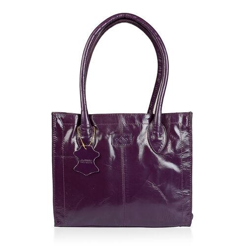 Premium Collection Genuine Leather RFID Blocker Deep Purple Colour Shoulder Bag (Size 32X25X12 Cm)