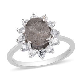 9K White Gold  Meteorite and Natural Cambodian Zircon Halo Ring 5.32 Ct.