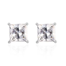 J Francis - Platinum Overlay Sterling Silver Stud Earrings Made with SWAROVSKI ZIRCONIA 1.42 Ct.
