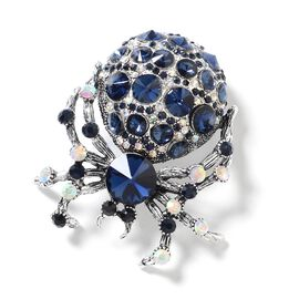 Simulated Blue Sapphire (Rnd), Multi Colour Austrian Crystal Spider Brooch in Silver Tone