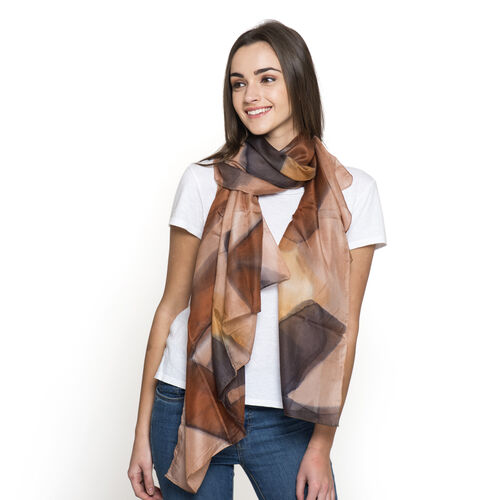 100% Mulberry Silk Chocolate and Multi Colour Abstract Pattern Pareo (Size 180x100 Cm)