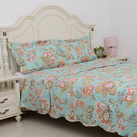 3 Piece Set - Mint and Multi Colour Floral Pattern Quilt (Size 260x240 Cm) and 2 Pillow Case (Size 2