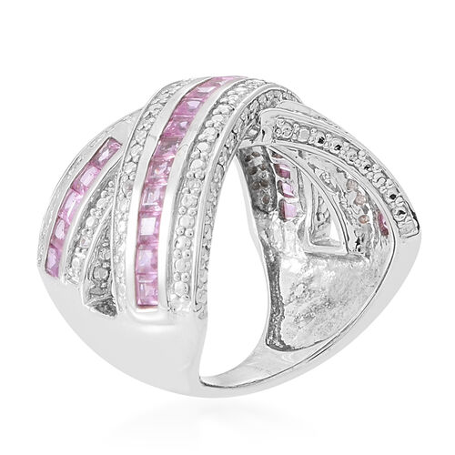 Pink Sapphire (Sqr), Natural Cambodian Zircon Criss Cross Ring in Rhodium Plated Sterling Silver 2.000 Ct.
