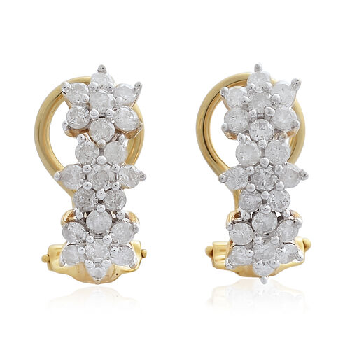 9K Yellow Gold 1 Carat Diamond Floral Earrings SGL Certified (I3/G-H)