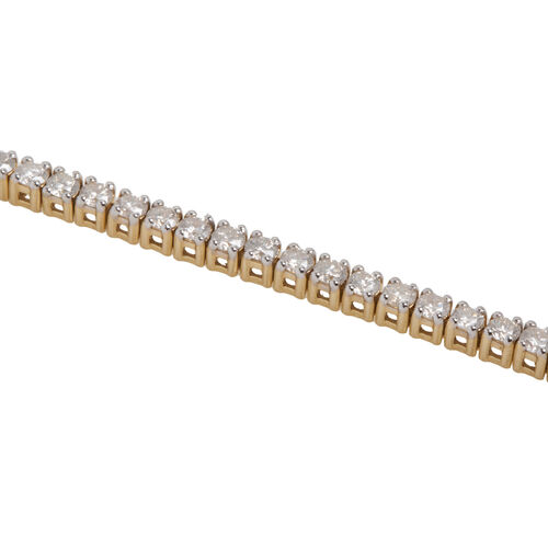 New York Close Out 14K Yellow Gold Diamond (Rnd) (I2/G-H) Bracelet (Size 7.5) 4.00 Ct, Gold wt 11.00 Gms.