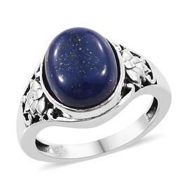 Artisan Craft Lapis Lazuli (Ovl) Ring (Size L) in Oxidised Sterling Silver 4.93 Ct.