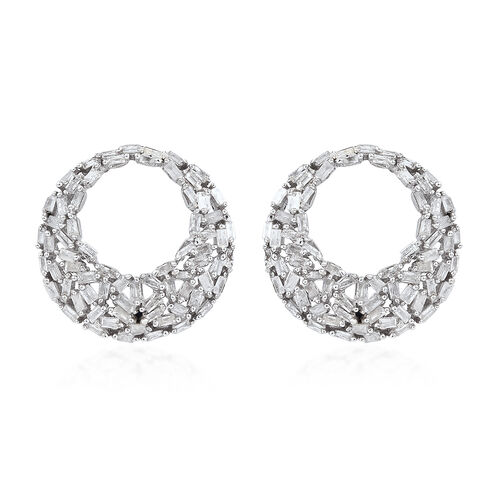 GP Diamond (Bgt), Kanchanaburi Blue Sapphire Earrings (With Push Back) in Platinum Overlay Sterling
