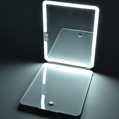 Stylish Marble Look 36 LED Rechargeable Tablet Mirror with Touch Sensor and USB Cable (Size 19x25.2x