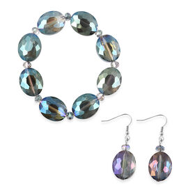 2 Piece Set - Simulated Sky Blue Topaz Beads Hook Earrings and Stretchable Bracelet (Size 7)