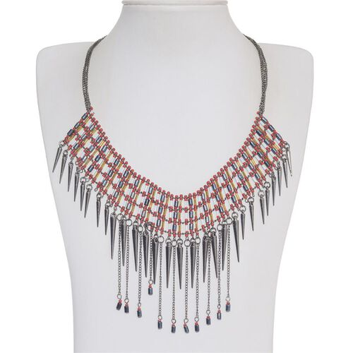 Red and White Seed Beads Spike Dangling Necklace (Size 18.5)