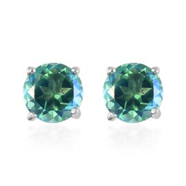 2.83 Ct Peacock Quartz Stud Solitaire Earrings in Platinum Plated Sterling Silver