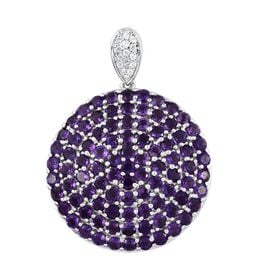 Lusaka Amethyst (Rnd), Natural Cambodian Zircon Cluster Pendant in Platinum Overlay Sterling Silver 6.500 Ct. Silver wt 8.56 Gms. Number of Gemstone 106
