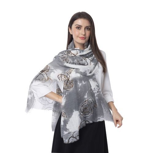 White, Brown and Grey Colour Art Rose Flower Pattern Scarf (Size 180x90 Cm)