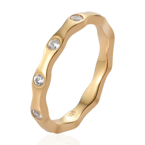 Set of 3 - J Francis - Platinum, Yellow Gold and Rose Gold Overlay Sterling Silver (Rnd) Ring Made with SWAROVSKI ZIRCONIA, Silver wt 5.66 Gms