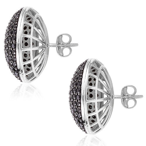 Red Carpet Collection - Boi Ploi Black Spinel Stud Earrings (with Push Back) in Rhodium Plated Sterling Silver 5.000 Ct.
